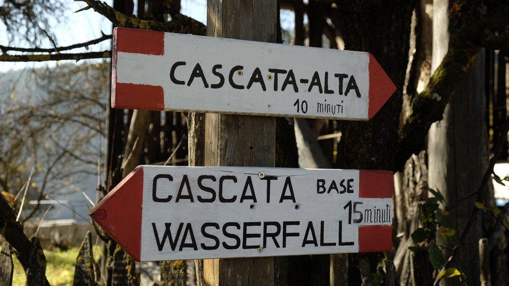 Indicazioni per la cascata di Tret (Ph. Mirko Ropelato)