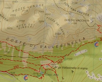 Dettaglio di una mappa topografica per escursionisti (Ph. Mirko Ropelato)
